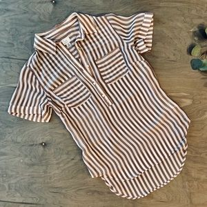 'a new day' striped sheer blouse